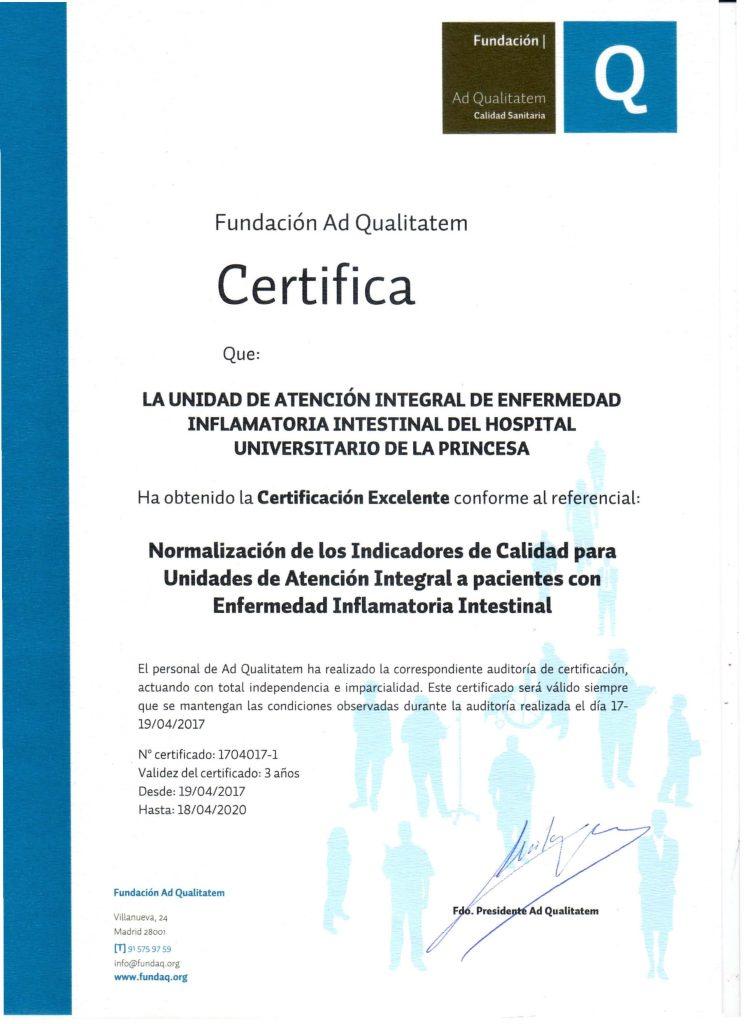 Certificado de Calidad de la Fundación Ad Qualitatem concedido a la Unidad de Enfermedad Inflamatoria Intestinal del Hospital Universitario de La Princesa en mayo de 2017