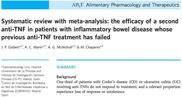 La eficacia de un segundo fármaco anti-TNF en pacientes con EII