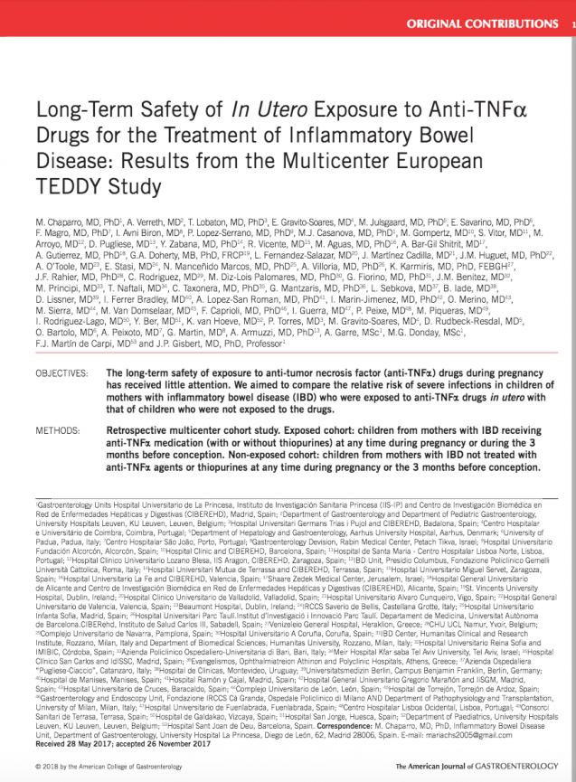 Seguridad a largo plazo de la exposición intrauterina a fármacos anti- TNF para el tratamiento de la EII: Estudio Multicéntrico Europeo Teddy