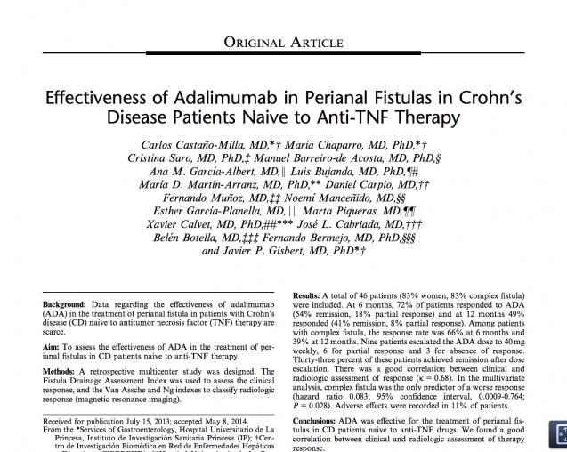 Eficacia del tratamiento con adalimumab (Humira) en el tratamiento de fístulas perianales de pacientes con E. Crohn