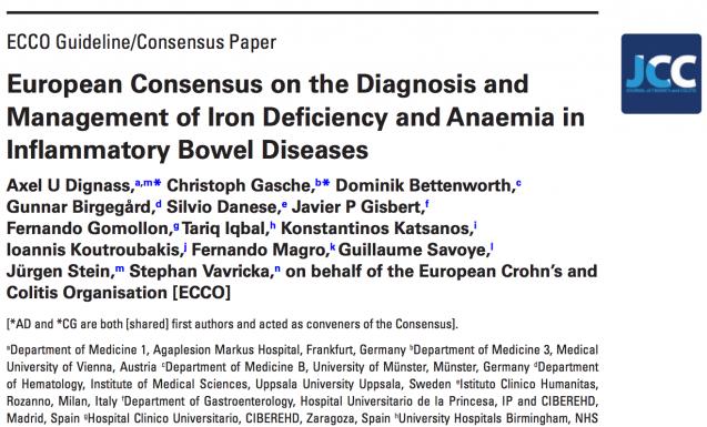 Consenso sobre diagnóstico y tratamiento de Anemia en pacientes con EII-ECCO (2015)